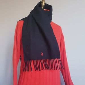 🏇 90s POLO Ralph Lauren Fringed Lambswoool Scarf